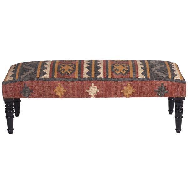 Lilyanna Handmade Indo Kilim Wooden Bench by Millwood Pines Millwood Pines