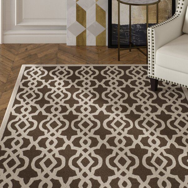 Daphne Hand Tufted Brown/Cream Area Rug by Rosdorf Park