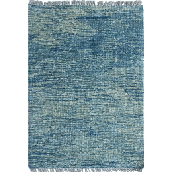 Ackworth Kilim Hand Woven Wool Blue Area Rug by Bungalow Rose