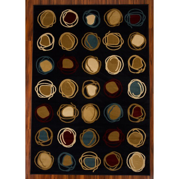 Chase Cirlcle 1605 Black/Yellow Area Rug by Ebern Designs