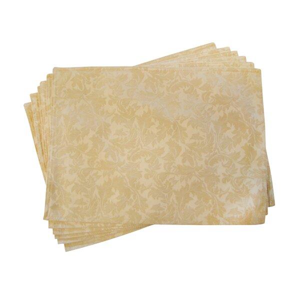 Lined Jacquard Leaf Placemat (Set of 6) by Textiles Plus Inc.