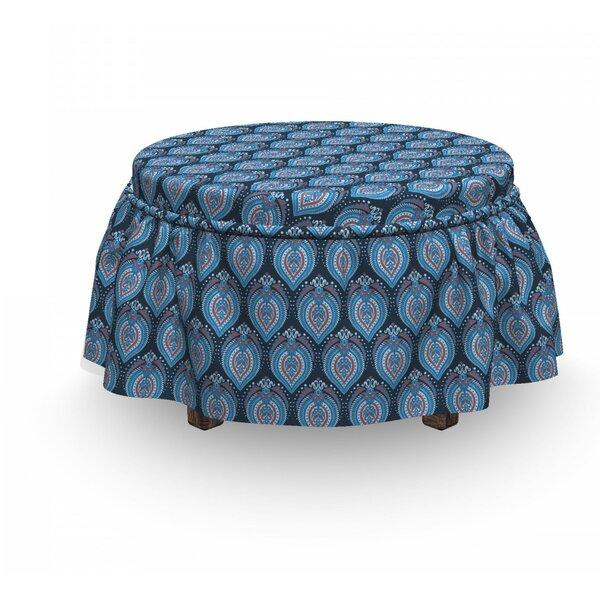 Asian Floral Arrangement 2 Piece Box Cushion Ottoman Slipcover Set By East Urban Home