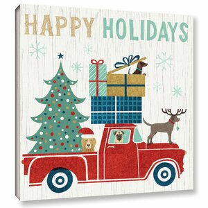 'Holiday on Wheels' by Michael Mullan Graphic Art on Wrapped Canvas by ArtWall