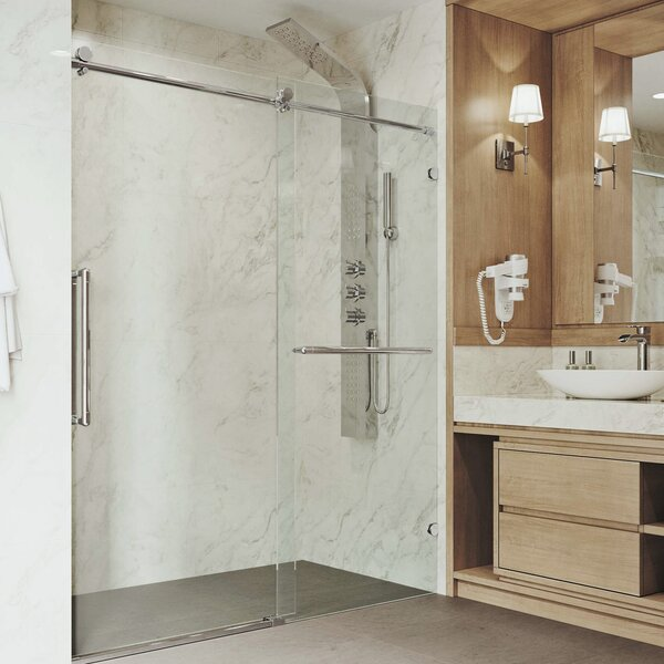 Ferrara Adjustable 72 x 73.5 Single Sliding Frameless Shower Door by VIGO