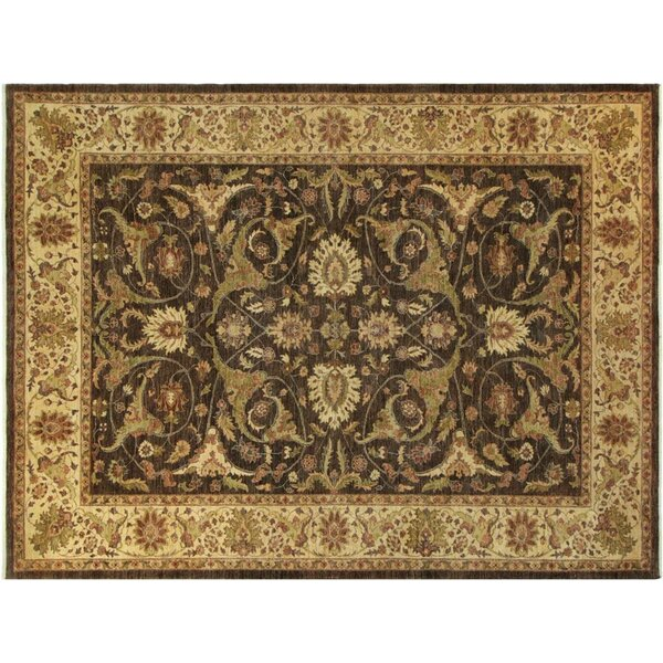 Xenos Hand-Knotted Rectangle Wool Brown/Light Tan Area Rug by Astoria Grand