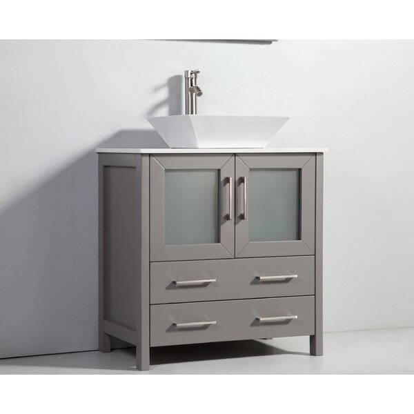 Karson Framed 30 Single Bathroom Vanity Set with Mirror by Wade Logan