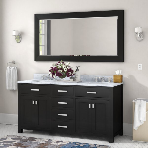 Raven 60 Double Bathroom Vanity Set With Large Mirror By Andover Mills.