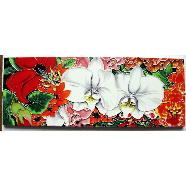 Horizontal Orchid Tile Wall Decor by Continental Art Center