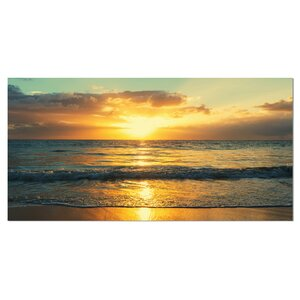 Exotic Water and Sky Sunset Panorama Photographic Print on Wrapped Canvas by Design Art
