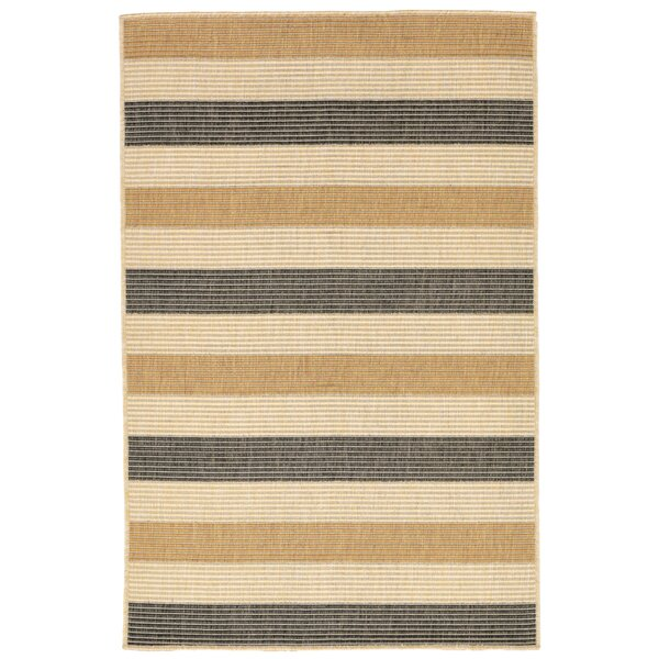 Larana Stripe Beige/Gray Indoor/Outdoor Area Rug by Beachcrest Home