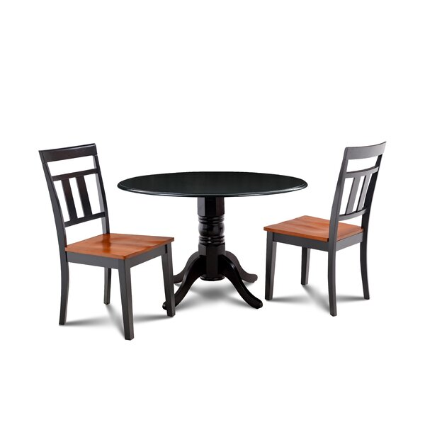 Percival 3 Piece Drop Leaf Solid Wood Dining Set by Millwood Pines