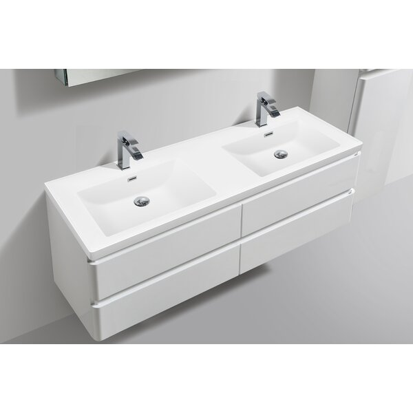 Mccarty 59 Wall- Mounted Double Bathroom Vanity with LED Lights by Orren Ellis
