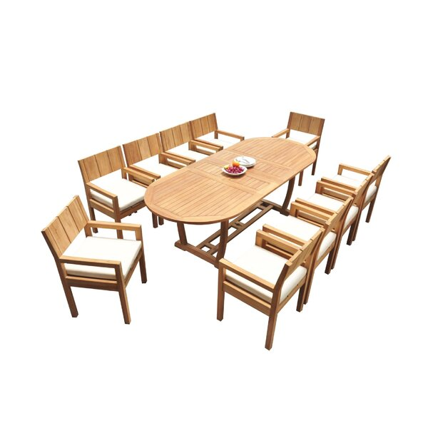 Donavan 11 Piece Teak Dining Set by Rosecliff Heights