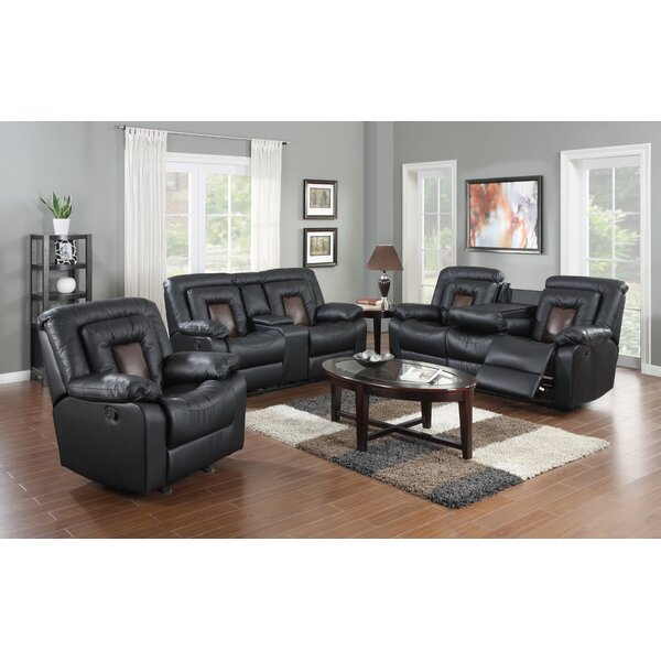 Alice Reclining Leather 3 Piece Living Room Set by Red Barrel Studio