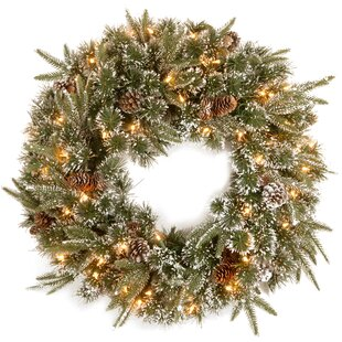 pine wreath with snow pinecones with 50 clear lights - Michaels Christmas Garland