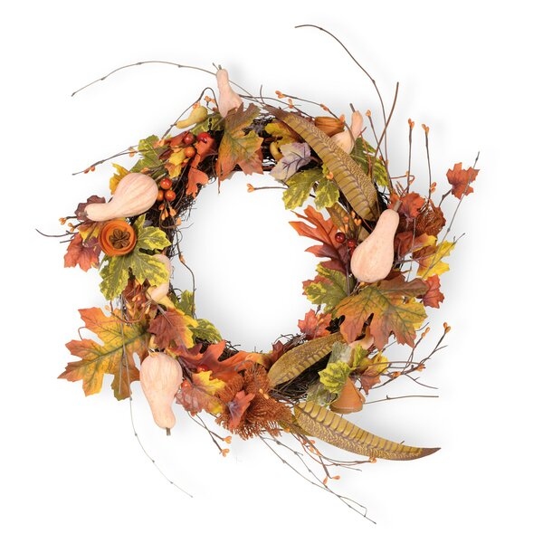 Harvest Dolls 12 Gourd Leave Wreath by The Holiday Aisle