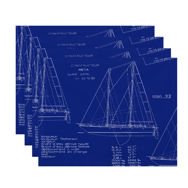 Harriet Sail Plan Trio Placemat (Set of 4) by Breakwater Bay