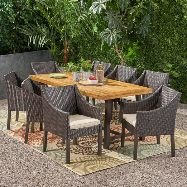 Gabel Outdoor Wood and Wicker 9 Piece Dining Set with Cushions by Darby Home Co
