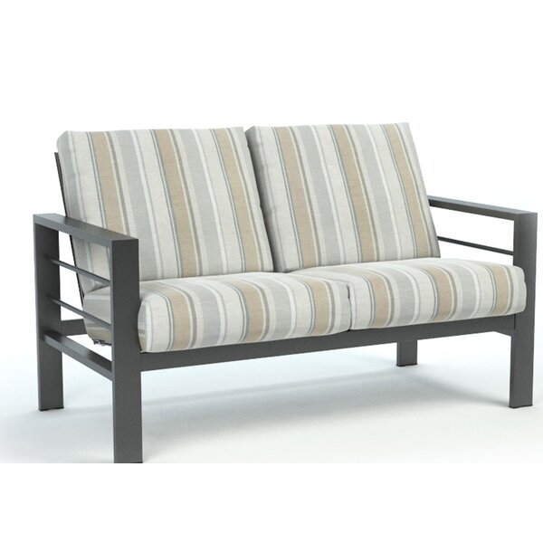 Fuentes Trusted Fog Low Back Loveseat with Sunbrella Cushions by Breakwater Bay