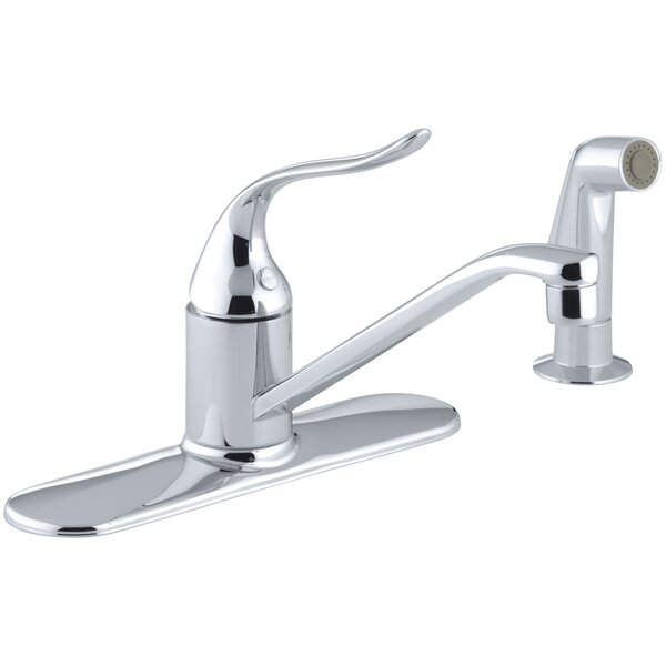 Coralais Three-Hole Kitchen Sink Faucet with 8-1/2 Spout, Matching Finish Sidespray, Ground Joints and Lever Handle by Kohler