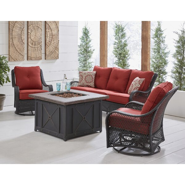 Innsbrook 4-Piece Woven Fire Pit Lounge Set in Autumn Berry with Sofa 2 Swivel Gliders and Durastone Fire Pit by Alcott Hill Alcott Hill