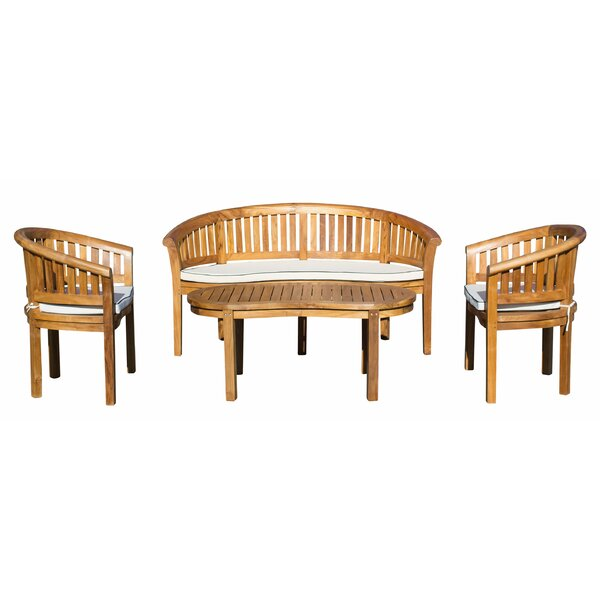 Tovar 4 Piece Teak Sunbrella Seating Group with Cushion (Set of 4) by Bayou Breeze