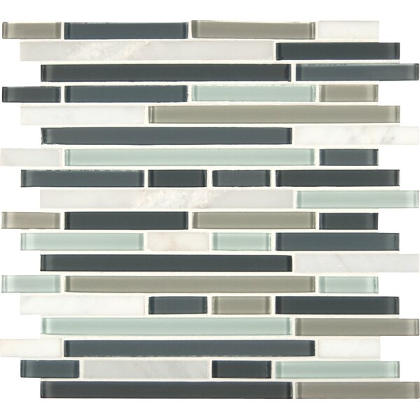 Interlocking Random Sized Glass and Natural Mosaic Tile in Multi by MSI