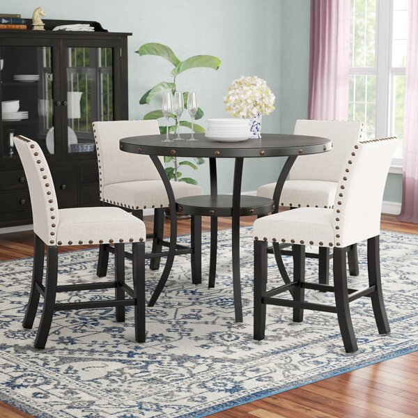 Maudie 5 Piece Counter Height Solid Wood Dining Set by Darby Home Co