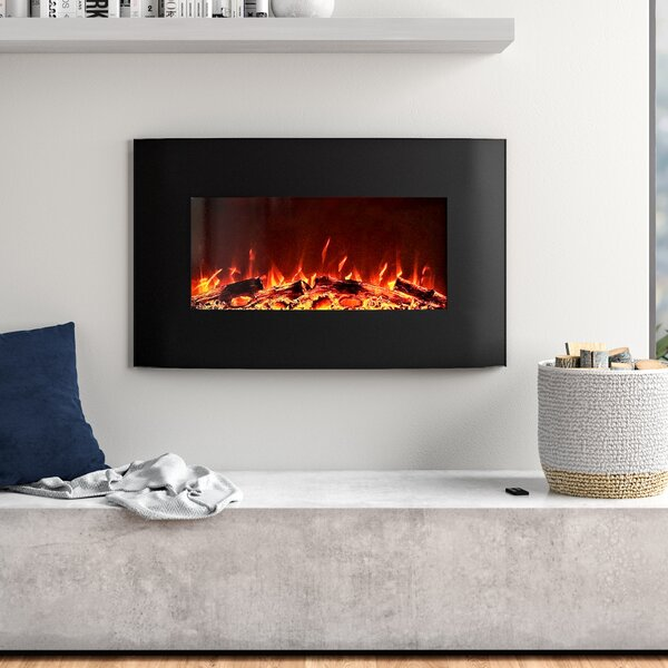 Razo Curved Wall Mounted Electric Fireplace By Orren Ellis