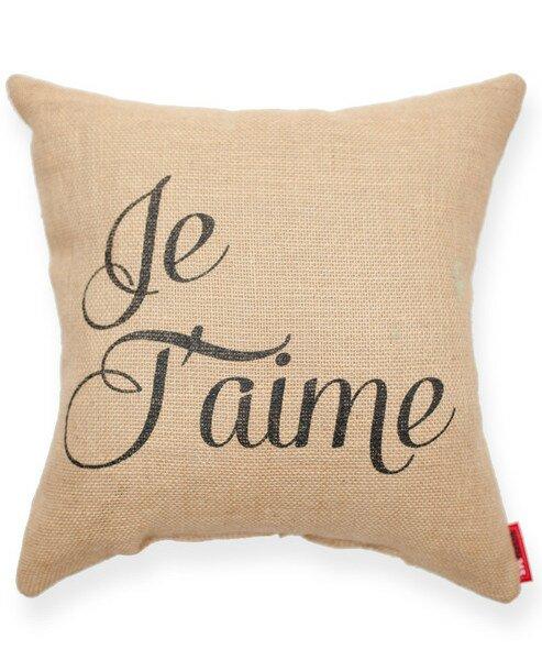 Expressive Je Taime Decorative Burlap Throw Pillow by Posh365