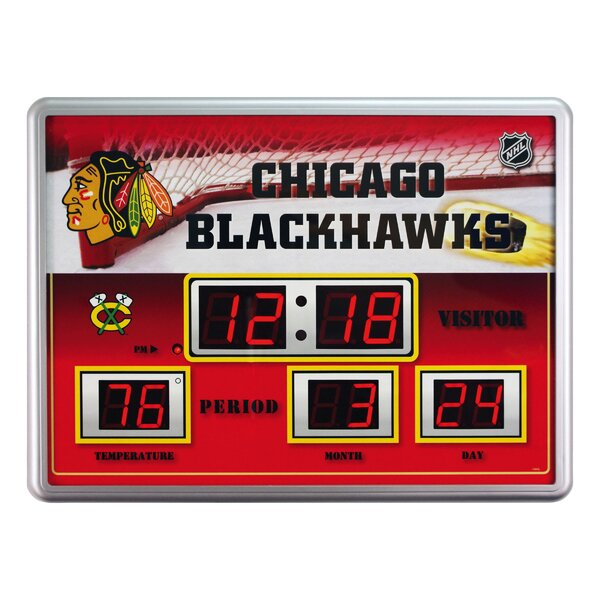 NHL Scoreboard Wall Clock with Thermometer by Team Sports America