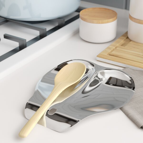 Stainless Steel Double Spoon Rest by Rebrilliant