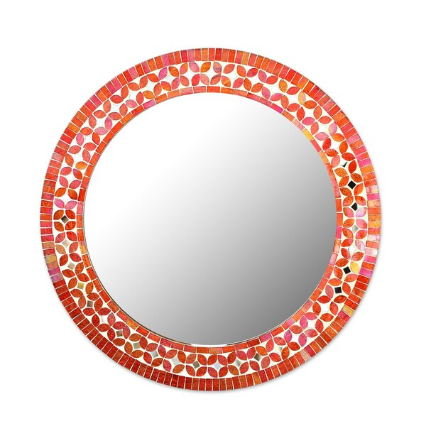 Plaistow Shimmering Blossoms Glass Mosaic Wall Accent Mirror by Bloomsbury Market