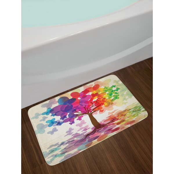 Abstract Colorful Blooming Spring Season Tree with Butterflies Pastoral Nature Illustration Non-Slip Plush Bath Rug by East Urban Home