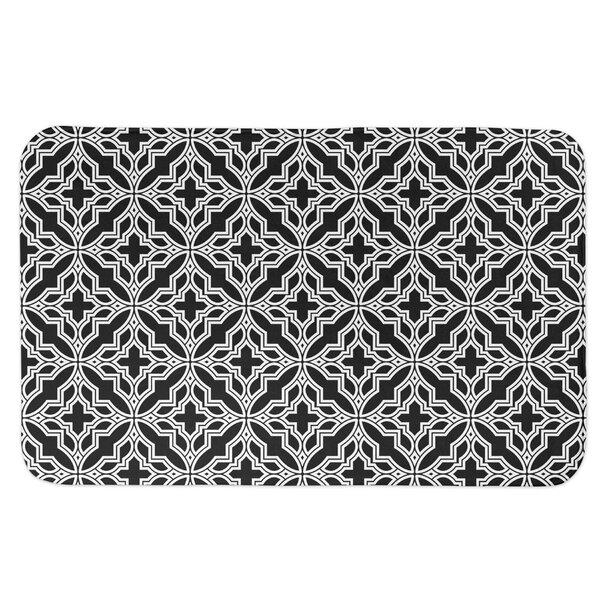 Kerby Tile Rectangle Non-Slip Floral Bath Rug