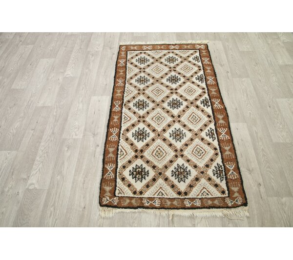 Stonington Traditional Geometric Moroccan Hand-Knotted Wool Beige/Brown Area Rug by Bloomsbury Market