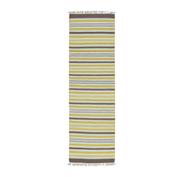 Flat Weave Striped Durie Kilim Hand-Knotted Chocolate Brown/Yellow/Ivory Area Rug by Bloomsbury Market
