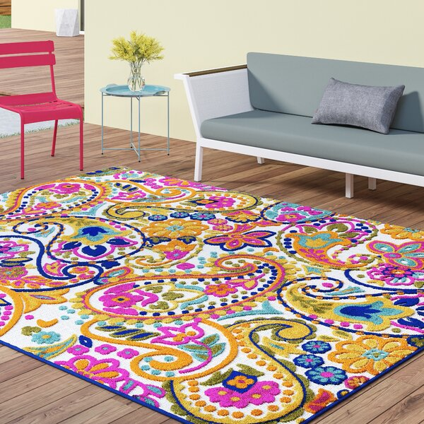Dorinda Yellow/Pink Indoor/Outdoor Area Rug by Ebern Designs
