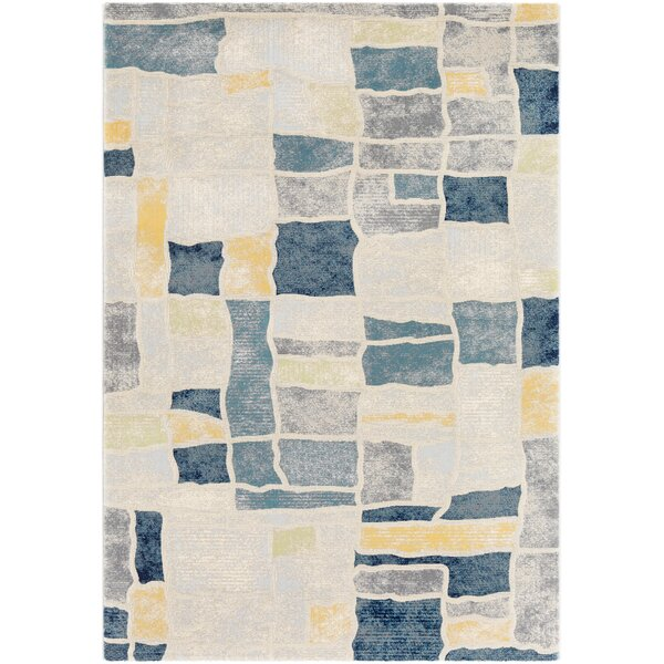 Oakdene Distressed Abstract Navy/Gray Area Rug by Wrought Studio