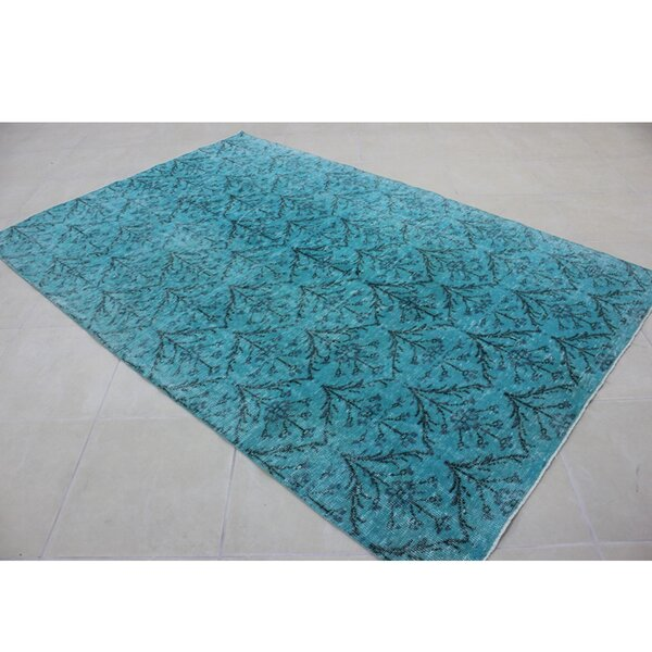 Vintage Hand-Knotted Blue/Black Area Rug by Wildon Home ®