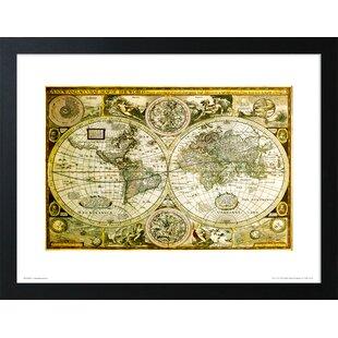 Framed world map wayfair world map historical framed graphic art print gumiabroncs Choice Image
