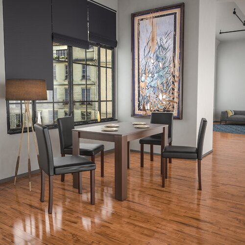 Sherlene Dining Set with 4 Chairs Ebern Designs Colour (Table): Walnut, Colour (Chair): Black/Walnut