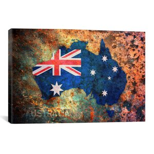 'Australia Flag Map' by Michael Tompsett Graphic Art on Canvas by iCanvas