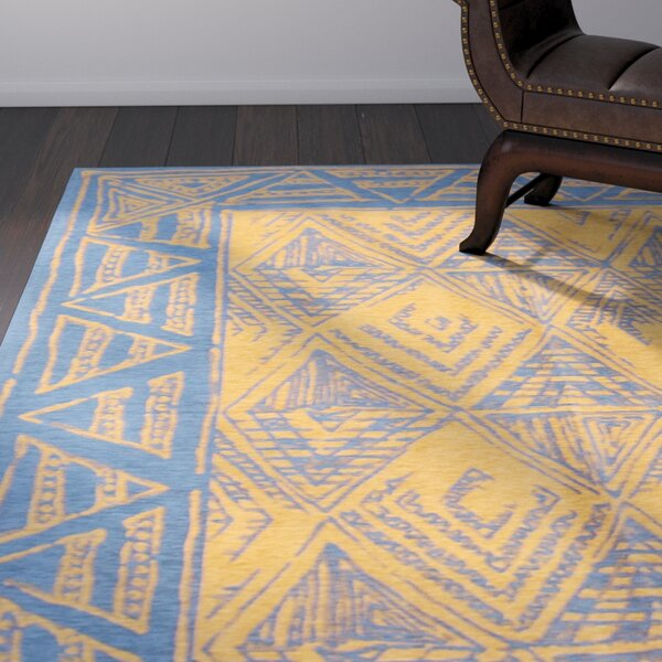 One-of-a-Kind Cosmia Handmade Cotton Dark Blue/Light Brown Area Rug by Isabelline