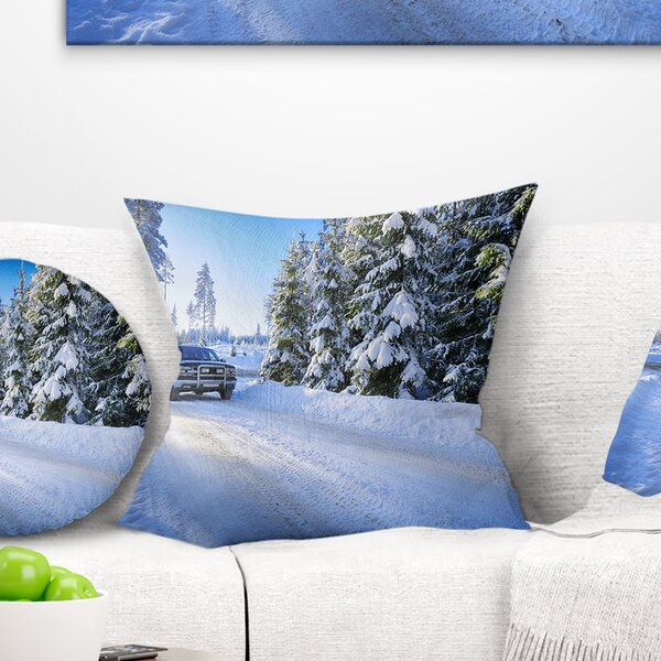 Landscape SUV Car Though Snowy Winter Printed Pillow by East Urban Home