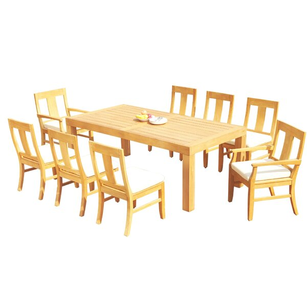 Dylon 9 Piece Teak Dining Set by Rosecliff Heights
