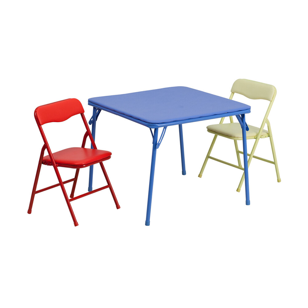 Zoomie Kids River Folding Kids 3 Piece Writing Table And Chair Set