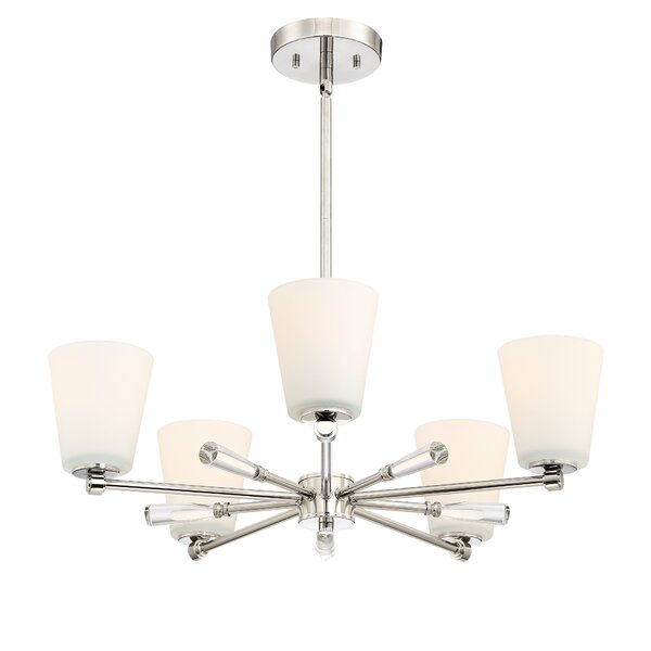 Bernal 5-Light Shaded Wagon Wheel Chandelier By Mercer41