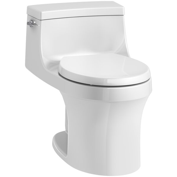 San Souci 1 Piece Round-Front 1.28 GPF Toilet with Aquapiston Flushing Technology by Kohler