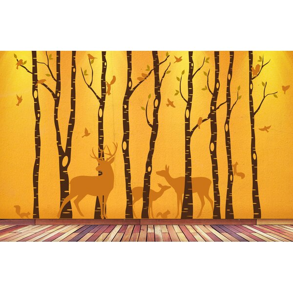 Birch Tree Animal Forest Mural Vinyl Wall Decal by Innovative Stencils